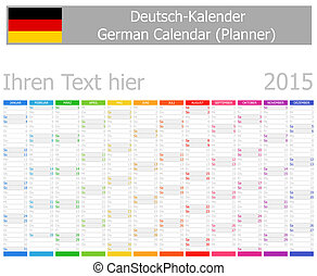 2015 German Planner Calendar with Vertical Months on white...