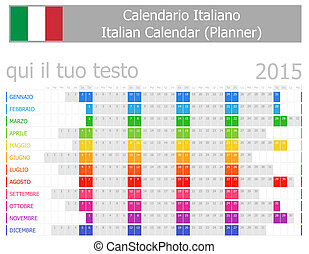 2015 Italian Planner Calendar with Horizontal Months on...