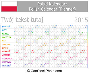 2015 Polish Planner-2 Calendar with Horizontal Months on...