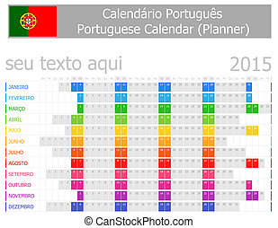 2015 Portuguese Planner Calendar with Horizontal Months on...