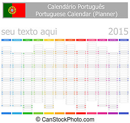 2015 Portuguese Planner-2 Calendar Vertical Months on white...