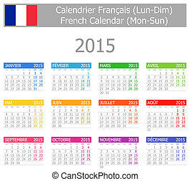2015 French Type-1 Calendar Mon-Sun on white background