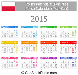 2015 Polish Type-1 Calendar Mon-Sun on white background
