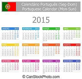 2015, ポルトガル語, カレンダー,  type-1,  mon