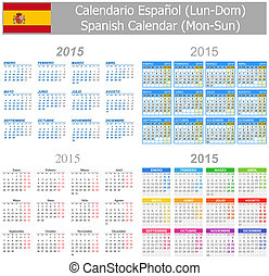 2015 Spanish Mix Calendar Mon-Sun on white background