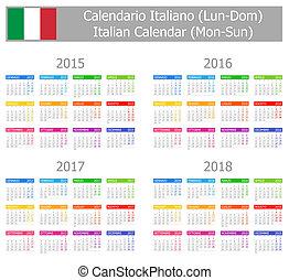 2015-2018 Type-1 Italian Calendar Mon-Sun on white...