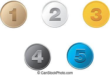 1,2,3,4,5 coins