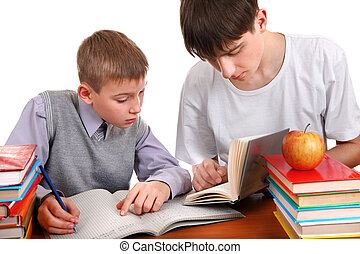 Students - Older Brother helps Little Brother with a...