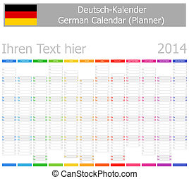 2014 German Planner-2 Calendar with Vertical Months on white...