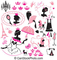 Fairytale Set - silhouettes of princess girls with accessories, crowns and pets