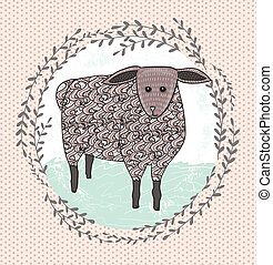 Cute little sheep illustration