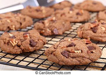 Chocolate Chip Cookies Cooling - Chocolate chip and pecan...