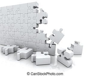 SOLVING JIGSAW PUZZLE - 3D RENDER OF JIGSAW PUZZLE