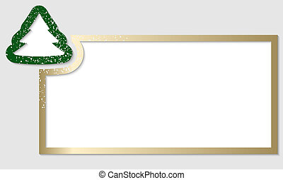 golden text frame with christmas tree