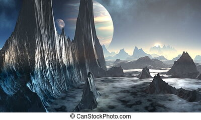 Fantastic Planet and gas giant - High, jagged cliffs and...