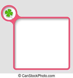 vector text frame with cloverleaf