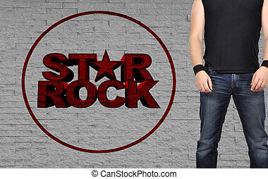 rock star men standing on brick wall backgraund