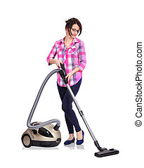 woman with vacuum cleaner - Young woman with vacuum cleaner...