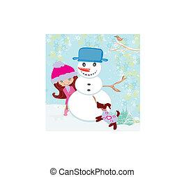 cute girl making snowman
