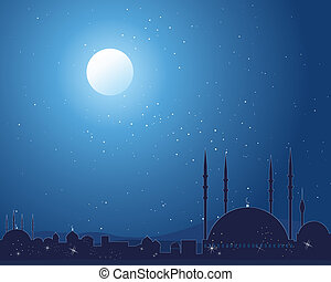 starlit mosque - an illustration of a silhouette asian...