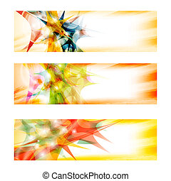 set of three colored abstract banners