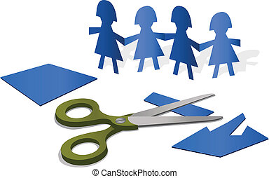 Paper Figures - Illustration with cutout paper figures and a...