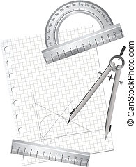 Technical Drawing Equipments - Illustration of technical...