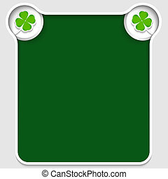 green abstract text box with cloverleaf