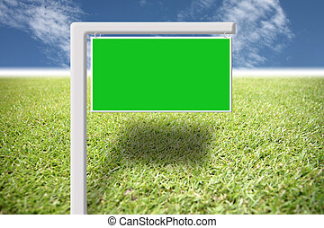 Green sign on the lawn and blue sky - Green sign on the lawn...