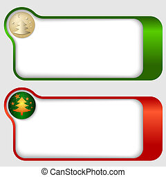 set of two abstract text frames with a Christmas tree