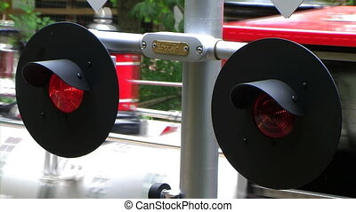 Flashing Railroad Crossing Signal - Flashing railroad...