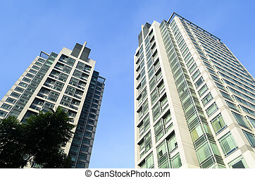 Buildings Worm's Eye View - Worm's eye view of two...