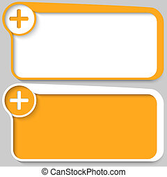 two yellow vector text box and plus sign