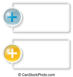 two white abstract text frame with plus sign