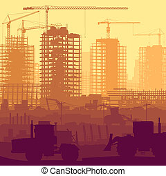 Construction site with crane. - Horizontal vector...