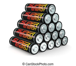 Batteries - one stack of size AA batteries, concept of power...