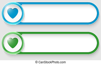 blue and green vector abstract buttons with heart
