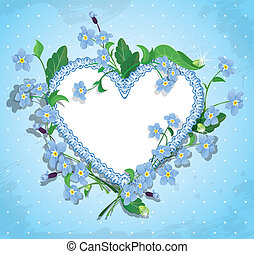 Bouquet of beautiful forget me not flowers and lace heart on...