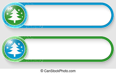 blue and green vector abstract buttons with a Christmas tree