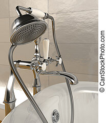 3d render of classic roll top bath and taps with shower attatchment  in contemporary  interior