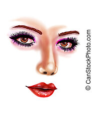 Female portrait - Unfinished digital female portrait on...