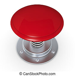 Push button - close up of a red push button (3d render)