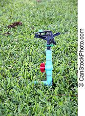 Springer in garden. - Sprinkler in the garden and serves...