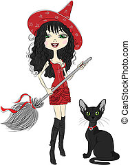 cheerful beautiful girl witch in pointy red hat, red dress, black boots, with broom and black cat