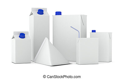 packages - set of packages in different shapes (3d render)