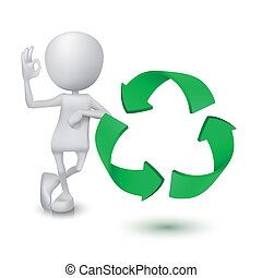 3d man showing okay hand sign with the recycling symbol