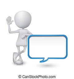 3d person with a blank speech bubble