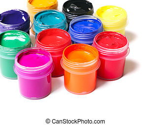 Paints - Jars full of multicolor paints on white background