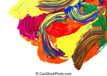 Paints - Abstract multicolor gouache paint, isolated on...