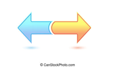 two inverse arrows - two color inverse arrows on white...